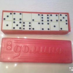 Domino of the times of the USSR, in a red plastic case