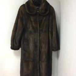 Mink γούνινο παλτό ανοιχτό καφέ μακρύ