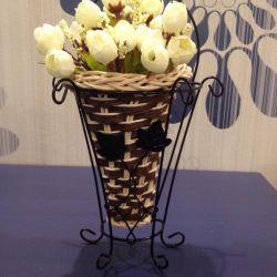 Cache-pot, artificial flowers, decor, interior.