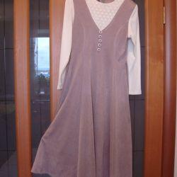 Kremalı uzun kahve elbisesi, beden 46