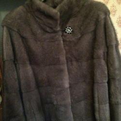 Half-fur coat mink blue-gray