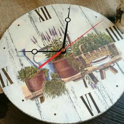 Wall clock round Provence decoupage