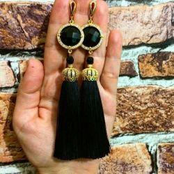 Natural silk tassel earrings