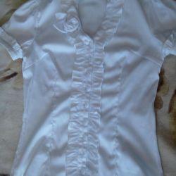 Блузка белая стреч