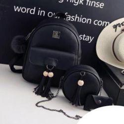 Backpack female set 3 in 1, black