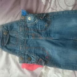 Children's jeans. jumpsuit (jeans with straps) 80 p.