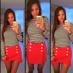 Vest and skirt knitwear