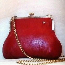 Bag red leather Retro