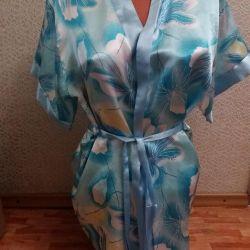 Saten mavi elbise