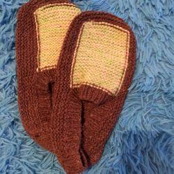 Мужские домашние вязанные носочки- следки