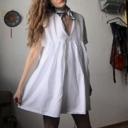 white dress zara cotton France shawl chiffon