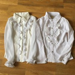 Blouse white to school at 128 cm (new)