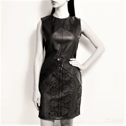 Irfe, original, France, leather dress, lace