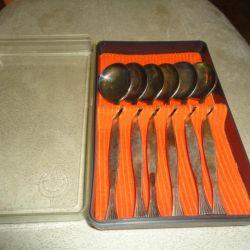 Ложки позолоченные чайные из мельхиора