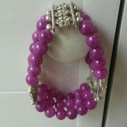 Handmade bracelets of agate and charoite