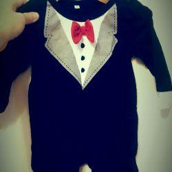Bodysuit tuxedo with long sleeves.