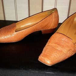 Orange shoes from natural python. Size 38