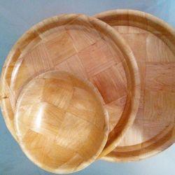 Tava rotunda de bambus 3 articole