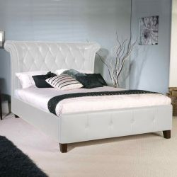 Ретро-кровать с белым PU 160x200