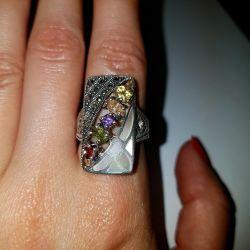 кольцо с разными натуральными камнями серебро 925