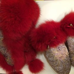 Set hat with earflaps and mittens