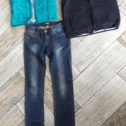 2 waistcoats and jeans. 44fold