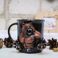 Terrible bear. Polymer clay mug decor