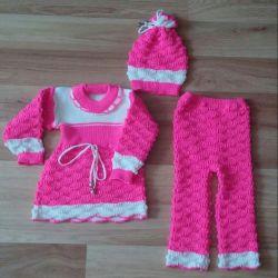 Комплект для девочки: платье, штанишки, шапочка