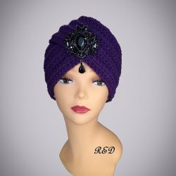 """Turban with brooch """"Violet"""""""