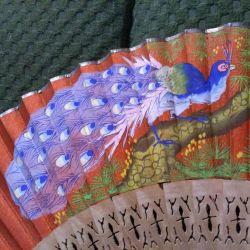 Веер винтажный роспись павлин