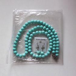 Σετ σφαιριδίων σκουλαρίκια βραχιόλι νέο τυρκουάζ