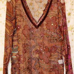 Doğal ipekden yeni bluz Fransa Sasha