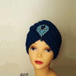 Turban, hat, knitted turban dark turquoise