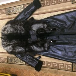 Gümüş tilki ile muton üzerinde koyun derisi ceket
