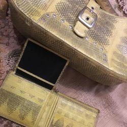 Δερμάτινη τσάντα Python και πορτοφόλι