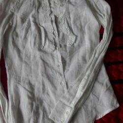 Рубашка тонкая,белая,х/б (46-48размер)