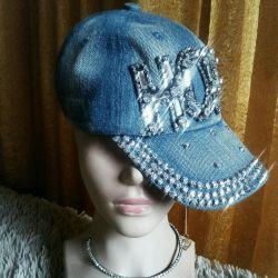 New, denim caps with rhinestones, brand.