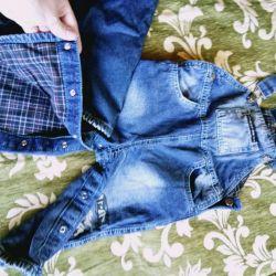 Комбинезон джинсовый утеплённый детский