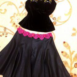 Waggon skirt black, pink lace