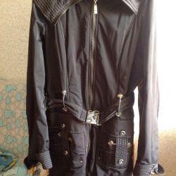 The raincoat female warmed black