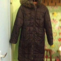Чeрное непромок пальто капюшон песец р. 44-46