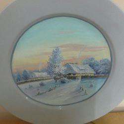 Pictura artistului pe vasul de faianță, ulei.
