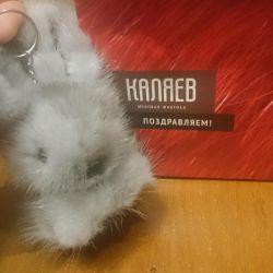 Kürk anahtarlık tavşan (Kalyaev) yeni