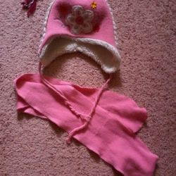 winter set cap and scarf, used, exc. comp.