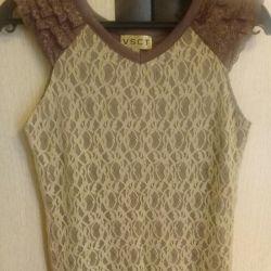 Κοντομάνικη μπλούζα με δαντέλα