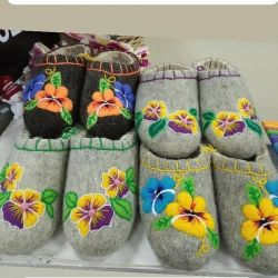 Felted slippers without a backdrop