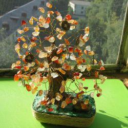Money tree from amber. Handwork.