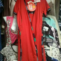 Set: dressing gown + shirt (48 size, cotton of 100%)