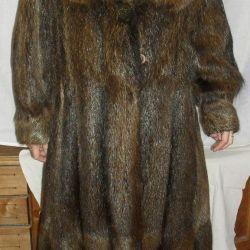 nutria kürk manto, birkaç kez giyinmiş, beden 52-54,