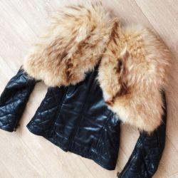 Jacket cu blană de vulpe chic